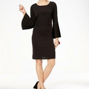 Anthony Richards black pleated bell sleeve dress